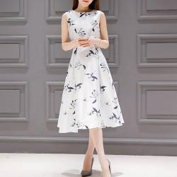 Floral Print Thin Waist Sleeveless White Dresses WC-231W