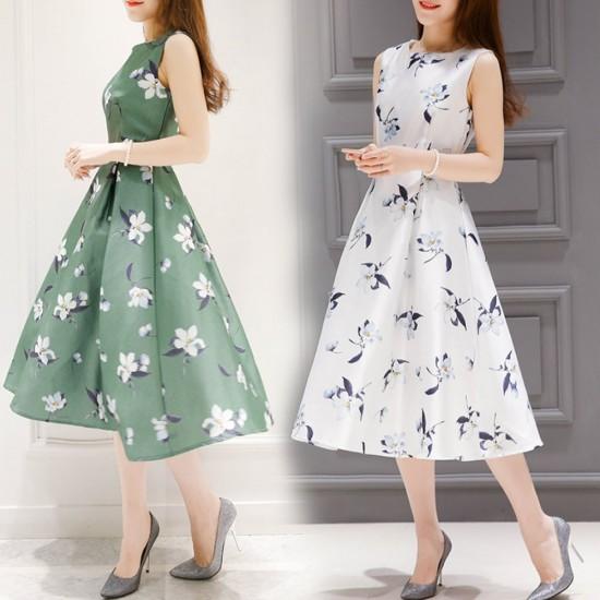 Floral Print Thin Waist Sleeveless White Dresses WC-231W |image