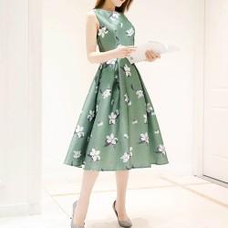 Floral Print Thin Waist Sleeveless Green Dresses WC-231GN