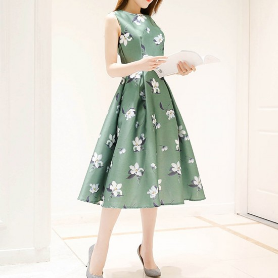 Floral Print Thin Waist Sleeveless Green Dresses WC-231GN |image