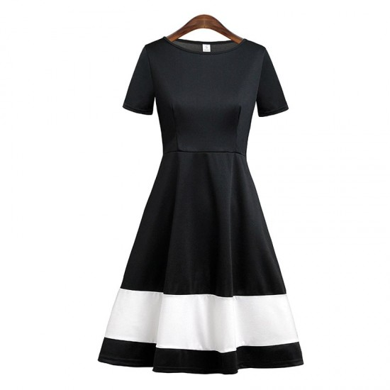 Women's A-Line Belle Black and White Stitching Dresses WC-232 |image