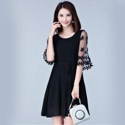Stylish Women Chiffon Chic Pleated Mini Black Dresses WC-246BK