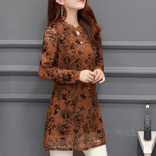 Lace Plus Velvet Bottoming Mini Brown Dress WC-260BR |image