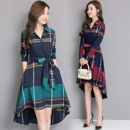 New Plaid Waist Stylish Irregular Long Section Red Dress WC-249RD |image