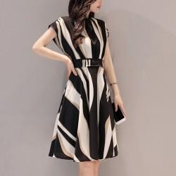 Irregular Print Short Sleeved Cocktail Line Dresses WC-243