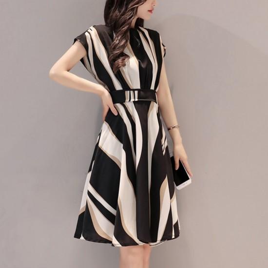 Irregular Print Short Sleeved Cocktail Line Dresses WC-243 |image