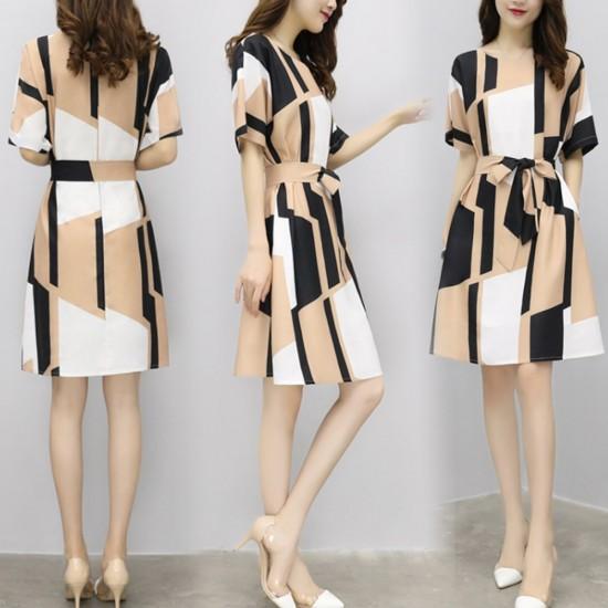 Irregular Pattern Thin Long Paragraph Waist Dresses WC-242 |image