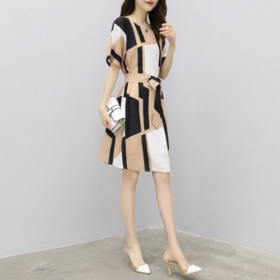 Irregular Pattern Thin Long Paragraph Waist Dresses WC-242 |image