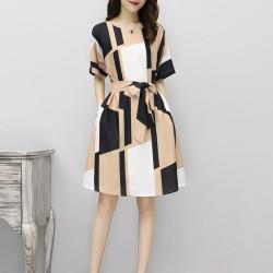 Irregular Pattern Thin Long Paragraph Waist Dresses WC-242