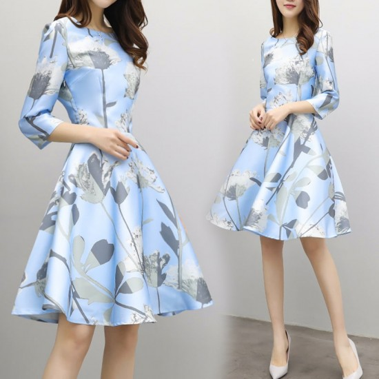 A-Line Swing Floral Half Sleeved Light Blue Dresses WC-240 |image