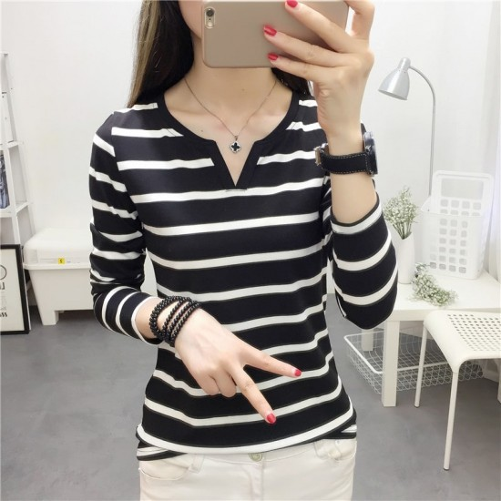 Slim Stripe V-neck Long Sleeve Black T-Shirts WC-239BK |image