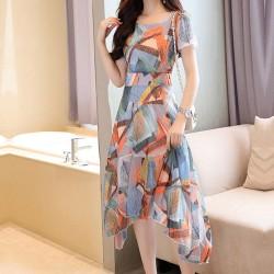 Irregular Print Long Multicolor Dresses WC-237
