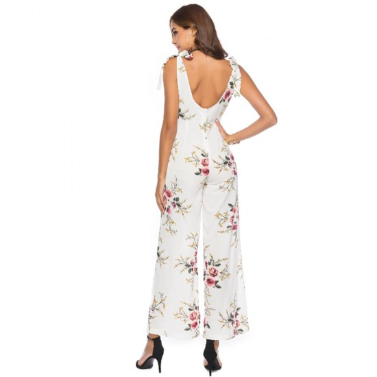 Voghtic Flower Printed Sleeveless White Jumpsuit WC-263W |image