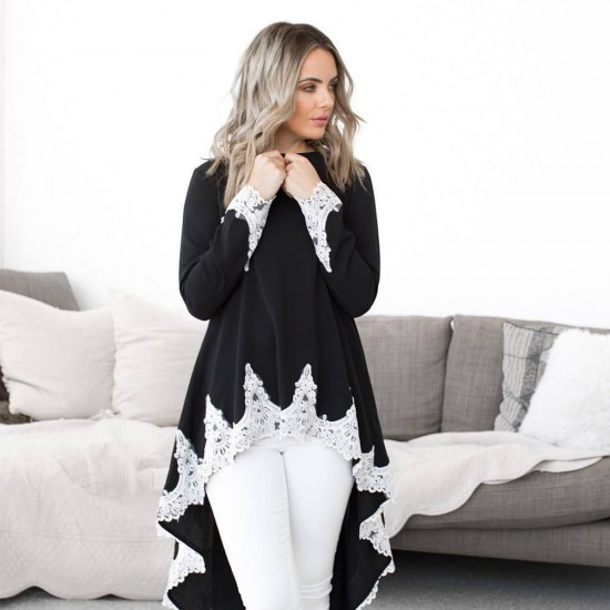 Casual Long Sleeved Irregular Lace Long Black Shrugs WC-259BK |image