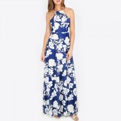 Slim Sleeveless Halter Print Long Blue Dresses WC-269BL