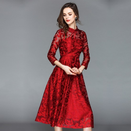 Lace Flare Sleeve Stand Collar A Line Red Maxi Dress WC-251RD |image