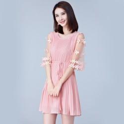 Stylish Women Chiffon Chic Pleated Mini Pink Dresses WC-246PK