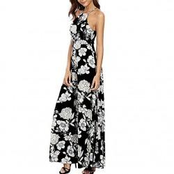 Slim Sleeveless Halter Print Long Black Dresses WC-269BK