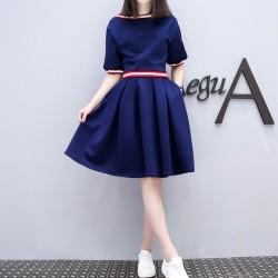 Blue Short Sleeve High Waist Swing Dress WC-274