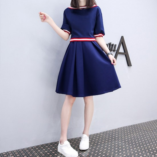 Blue Short Sleeve High Waist Swing Dress WC-274 |image