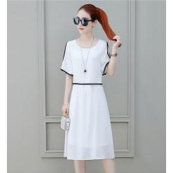 Short Sleeve Shoulder Cut White Dress WC-271W