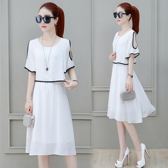 Short Sleeve Shoulder Cut White Dress WC-271W |image