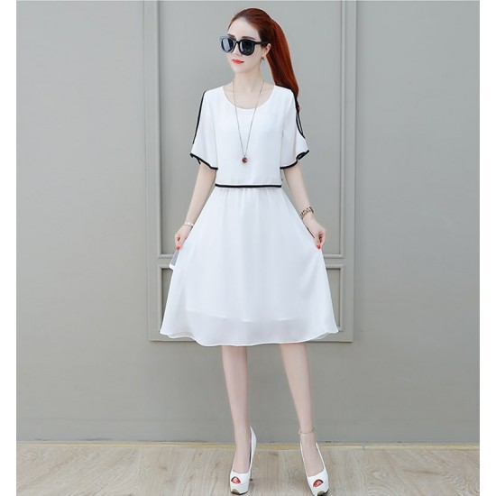 Short Sleeve Shoulder Cut White Dress WC-271W |image