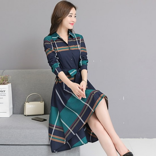 New Plaid Waist Stylish Irregular Long Section Green Dress WC-249GN  image