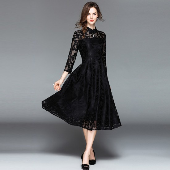 Lace Flare Sleeve Stand Collar A Line Black Maxi Dress WC-251BK |image