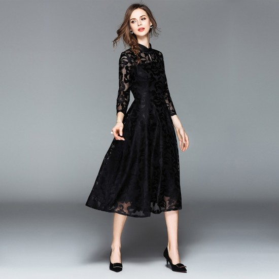 12b7c51c0742 Buy Lace Flare Sleeve Stand Collar A Line Black Maxi Dress WC-251BK ...