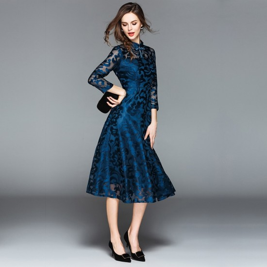 Lace Flare Sleeve Stand Collar A Line Blue Midi Dress WC-251BL |image
