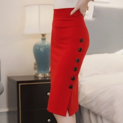 Women Split Fork Slim Side Button Red Skirt WC-254RD
