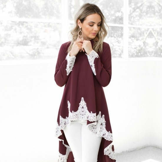 Casual Long Sleeved Irregular Lace Long Maroon Shrugs WC-259MR |image