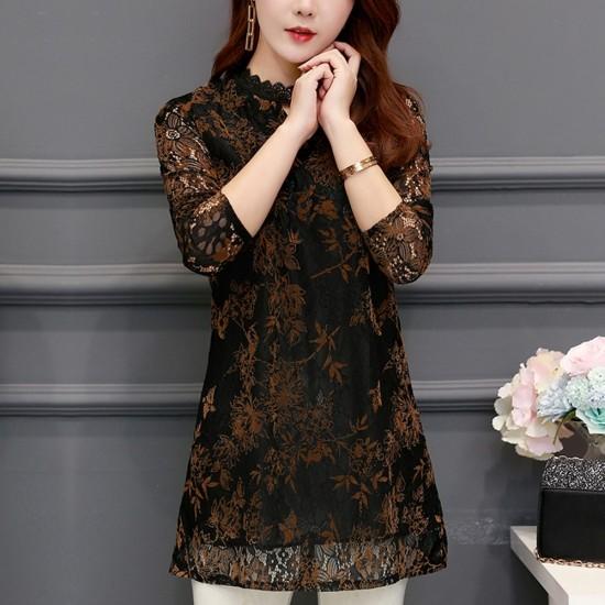 Lace Plus Velvet Bottoming Mini Black Dress WC-260BK |image