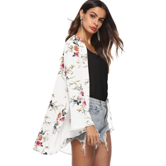Flower Printed Cardigan White Shrugs WC-262W |image