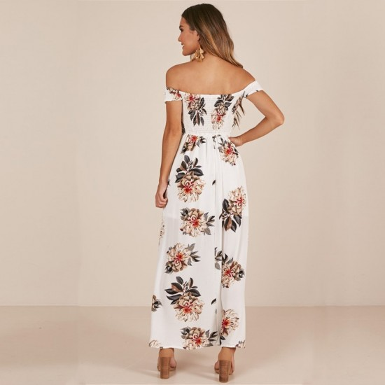 Printed Off Shoulder Slit White Maxi Dress WC-265W |image