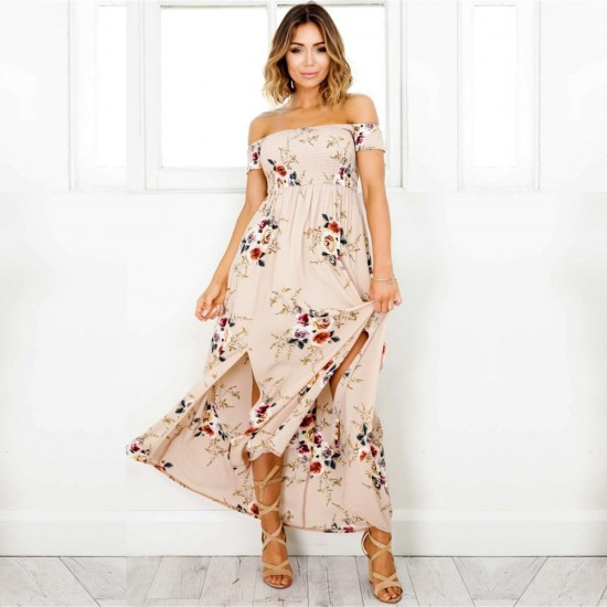 Printed Off Shoulder Slit Brown Maxi Dress WC-265BR |image