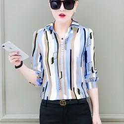 Women New Striped Port Blue Shirt WC-267BL