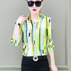 Women New Striped Port Green Shirt WC-267GN