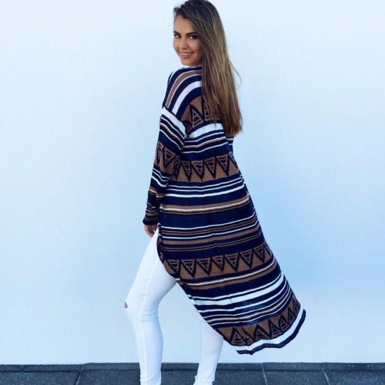 Black and White Striped Cardigan Sweater Shrug WC-268  image
