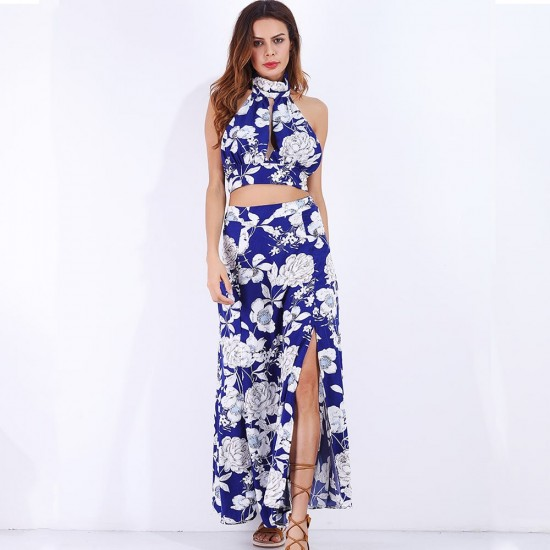 Halter Split Flower Print Sleeveless Blue Dress Set WC-270 |image