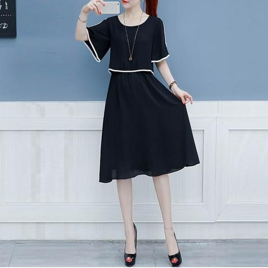 Short Sleeve Shoulder Cut Black Dress WC-271BK |image