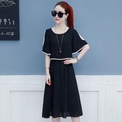 Short Sleeve Shoulder Cut Black Dress WC-271BK