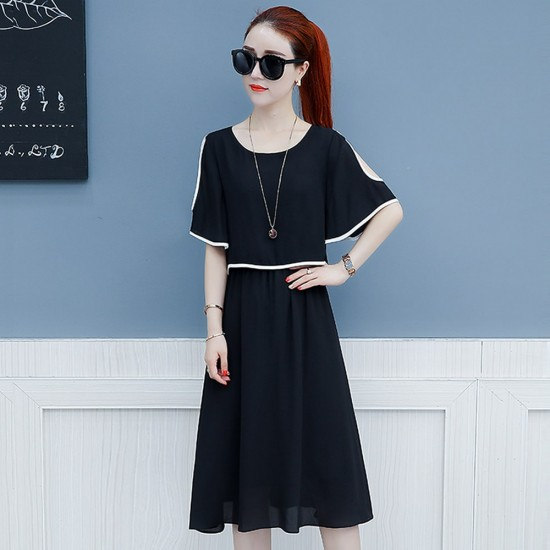 Short Sleeve Shoulder Cut Black Dress WC-271BK |image