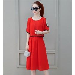 Short Sleeve Shoulder Cut Red Dress WC-271RD