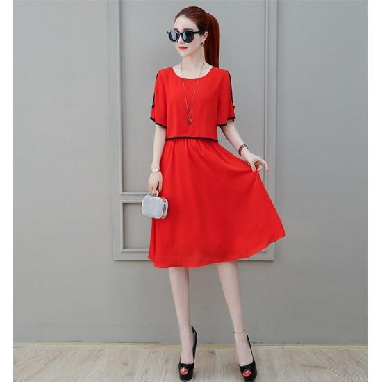 Short Sleeve Shoulder Cut Red Dress WC-271RD |image