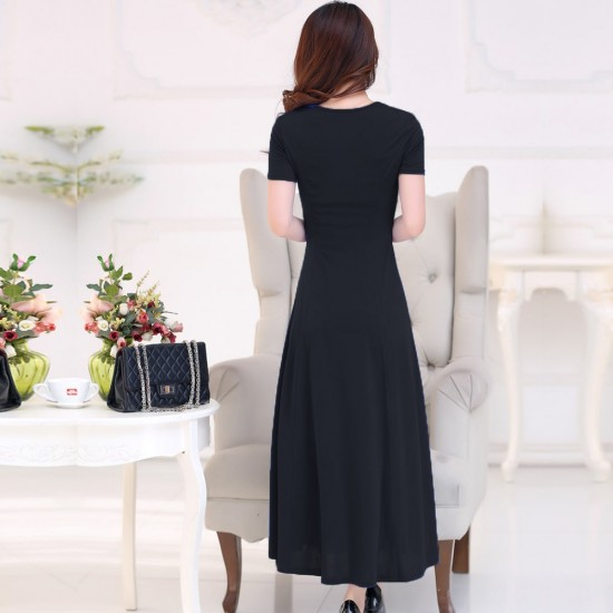 Short Sleeved Round Neck Slim Black Maxi Dress WC-275BK |image