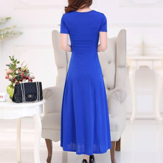 Short Sleeved Round Neck Slim Blue Maxi Dress WC-275BL |image