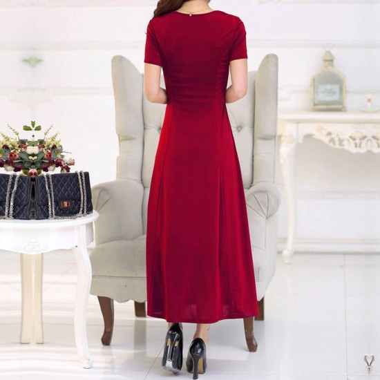 Short Sleeved Round Neck Slim Red Maxi Dress WC-275RD |image