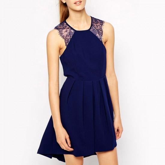 New Lace Shoulder A Line Blue Dress WC-277  image
